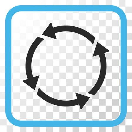 Recycle blue and gray vector icon. Image style is a flat pictograph symbol in a rounded square frame on a transparent background. Illustration