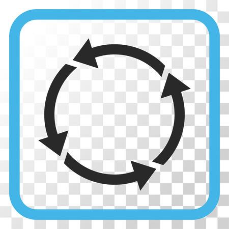 Recycler l'icône de vecteur bleu et gris. Le style d'image est un symbole de pictogramme plat dans un cadre carré arrondi sur un fond transparent.