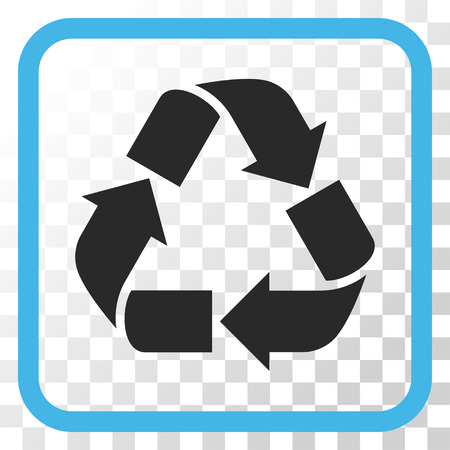 cíclico: Recycle blue and gray vector icon. Image style is a flat pictograph symbol inside a rounded square frame on a transparent background.
