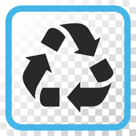 Recycle blue and gray vector icon. Image style is a flat icon symbol inside a rounded square frame on a transparent background.
