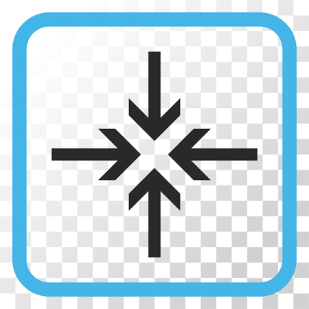 concentrate: Reduce Arrows blue and gray vector icon. Image style is a flat icon symbol inside a rounded square frame on a transparent background.