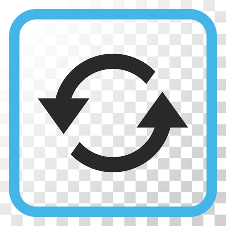 Refresh Arrows blue and gray vector icon. Image style is a flat iconic symbol in a rounded square frame on a transparent background.