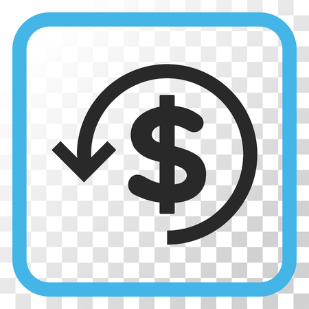 Refund blue and gray vector icon. Image style is a flat pictogram symbol inside a rounded square frame on a transparent background.