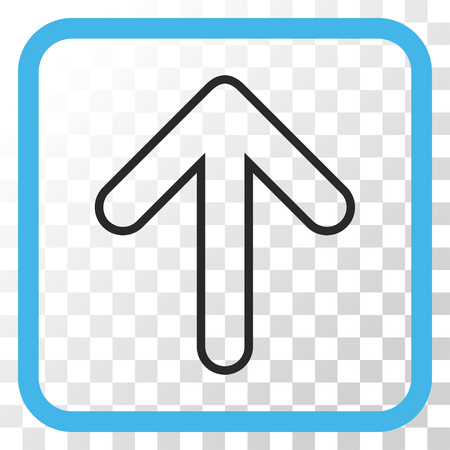 top pointer: Rounded Arrow Up blue and gray vector icon. Image style is a flat pictograph symbol in a rounded square frame on a transparent background.