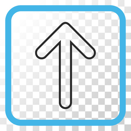 Rounded Arrow Up blue and gray vector icon. Image style is a flat pictogram symbol in a rounded square frame on a transparent background.