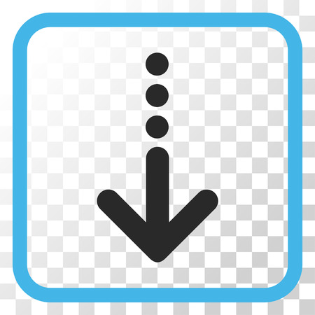 blue send: Send Down blue and gray vector icon. Image style is a flat icon symbol in a rounded square frame on a transparent background.