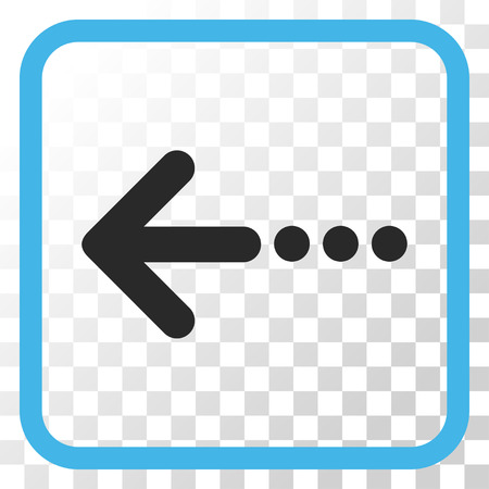 blue send: Send Left blue and gray vector icon. Image style is a flat pictograph symbol inside a rounded square frame on a transparent background.