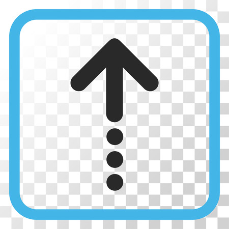 Send Up blue and gray vector icon. Image style is a flat icon symbol inside a rounded square frame on a transparent background.