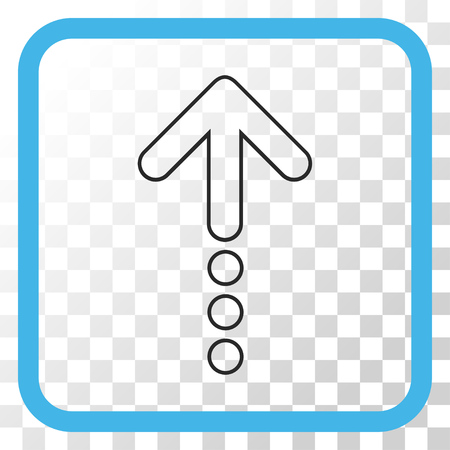 Send Up blue and gray vector icon. Image style is a flat pictograph symbol inside a rounded square frame on a transparent background.