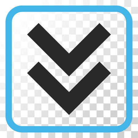 shift: Shift Down blue and gray vector icon. Image style is a flat pictogram symbol in a rounded square frame on a transparent background. Illustration