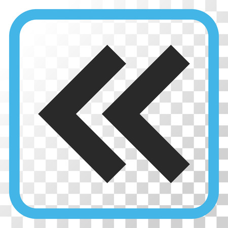 shift: Shift Left blue and gray vector icon. Image style is a flat pictogram symbol inside a rounded square frame on a transparent background. Illustration