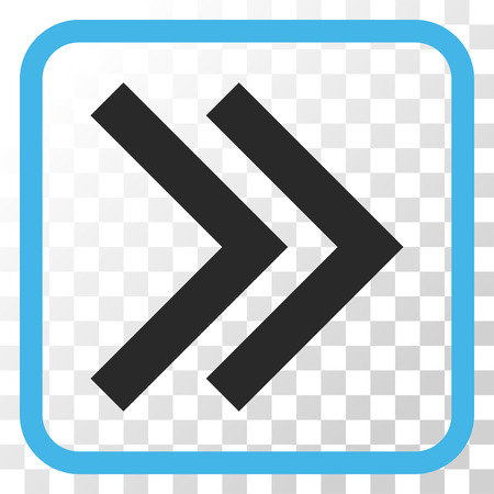redirect: Shift Right blue and gray vector icon. Image style is a flat pictograph symbol in a rounded square frame on a transparent background. Illustration