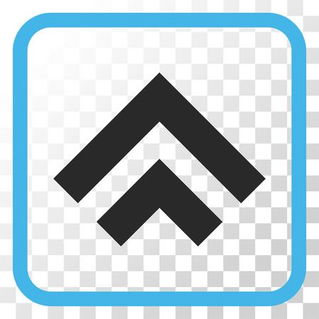 shift: Shift Up blue and gray vector icon. Image style is a flat icon symbol inside a rounded square frame on a transparent background.