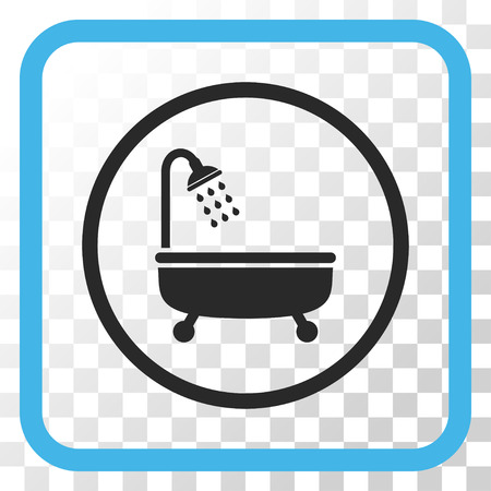 shower bath: Shower Bath blue and gray vector icon. Image style is a flat pictograph symbol inside a rounded square frame on a transparent background.