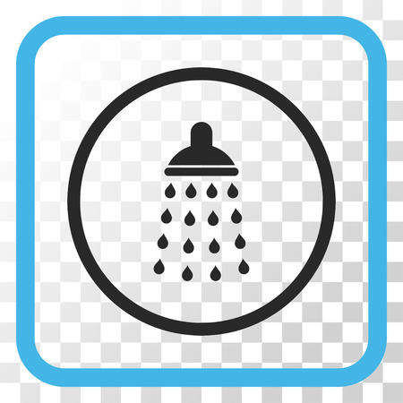 sanitize: Shower blue and gray vector icon. Image style is a flat pictograph symbol in a rounded square frame on a transparent background. Illustration