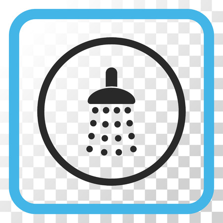 antiseptic: Shower blue and gray vector icon. Image style is a flat icon symbol in a rounded square frame on a transparent background. Illustration
