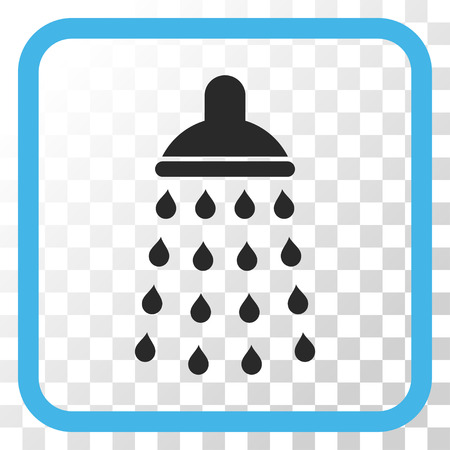 antiseptic: Shower blue and gray vector icon. Image style is a flat iconic symbol in a rounded square frame on a transparent background. Illustration