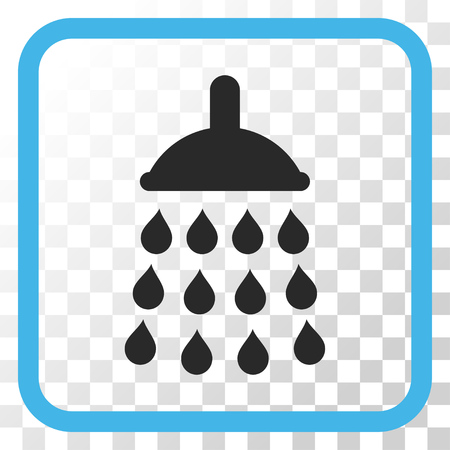 antiseptic: Shower blue and gray vector icon. Image style is a flat iconic symbol inside a rounded square frame on a transparent background.