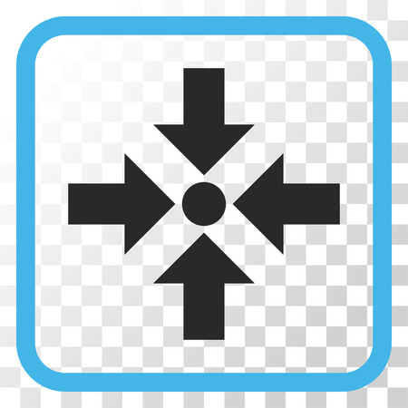 shrink: Shrink Arrows blue and gray vector icon. Image style is a flat pictograph symbol inside a rounded square frame on a transparent background.