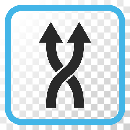 change of direction: Shuffle Arrows Up blue and gray vector icon. Image style is a flat pictogram symbol in a rounded square frame on a transparent background.