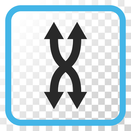 synchronize: Shuffle Arrows Vertical blue and gray vector icon. Image style is a flat icon symbol in a rounded square frame on a transparent background. Illustration