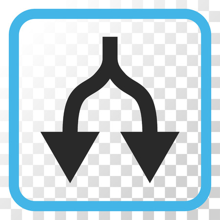 Split Arrows Down blue and gray vector icon. Image style is a flat pictograph symbol in a rounded square frame on a transparent background. Illustration
