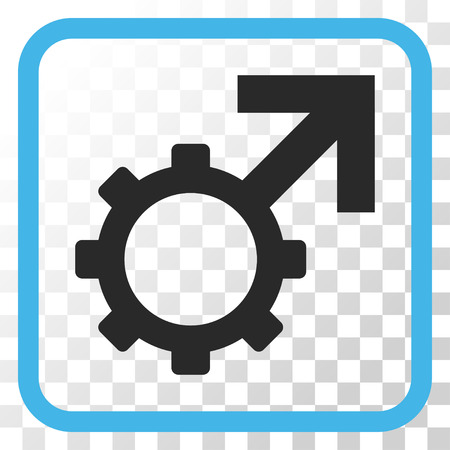 Technological Potence blue and gray vector icon. Image style is a flat icon symbol inside a rounded square frame on a transparent background.