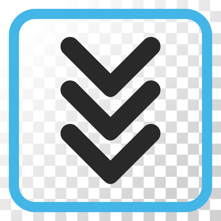 Triple Arrowhead Down blue and gray vector icon. Image style is a flat pictograph symbol in a rounded square frame on a transparent background.