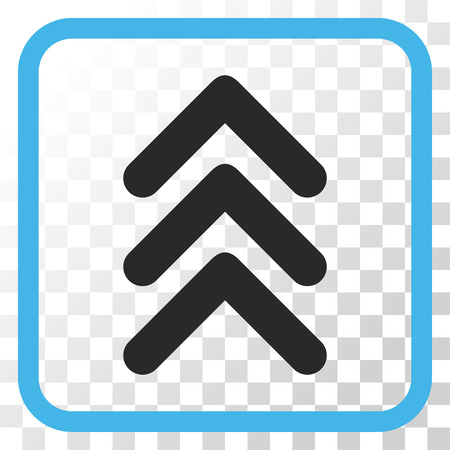 triple: Triple Arrowhead Up blue and gray vector icon. Image style is a flat icon symbol inside a rounded square frame on a transparent background.