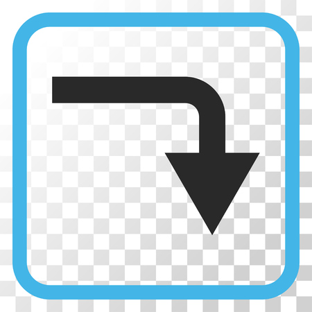 turn down: Turn Down blue and gray vector icon. Image style is a flat pictogram symbol inside a rounded square frame on a transparent background.