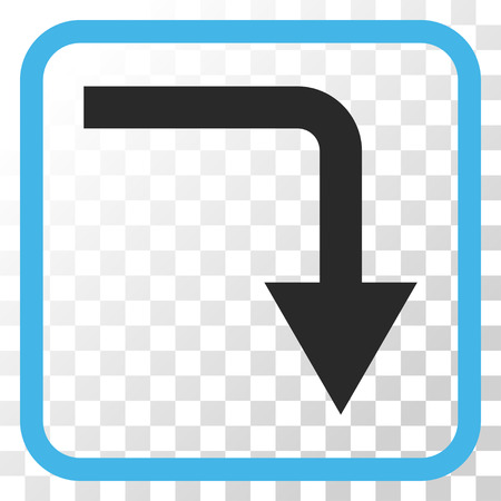 turn down: Turn Down blue and gray vector icon. Image style is a flat pictograph symbol in a rounded square frame on a transparent background.