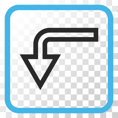 turn down: Turn Down blue and gray vector icon. Image style is a flat pictograph symbol inside a rounded square frame on a transparent background.
