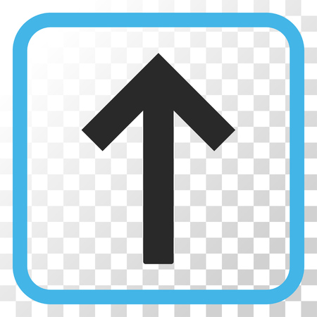 top pointer: Up Arrow blue and gray vector icon. Image style is a flat pictogram symbol in a rounded square frame on a transparent background.