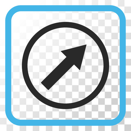 upright: Up-Right Rounded Arrow blue and gray vector icon. Image style is a flat pictogram symbol inside a rounded square frame on a transparent background.