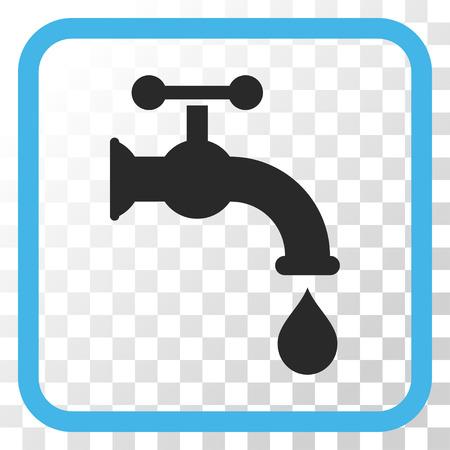 Eau du robinet bleu et gris vecteur icône. le style d'image est un symbole de l'icône à plat dans un cadre carré arrondi sur un fond transparent.