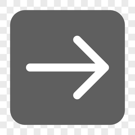 redirect: Arrow Right interface toolbar button. Vector icon style is a flat symbol inside a rounded square button, white and gray colors, chess transparent background.