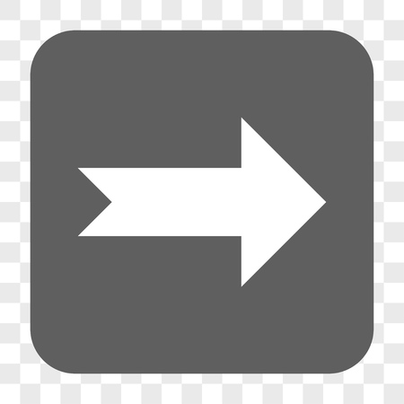 propel: Arrow Right interface toolbar button. Vector icon style is a flat symbol inside a rounded square button, white and gray colors, chess transparent background.