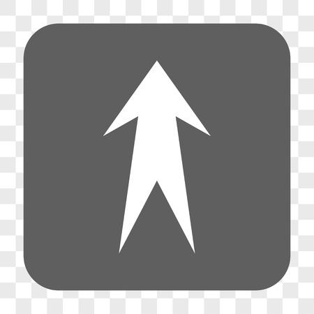 Flèche Up bouton de la barre d'interface. Vector icône de style est un symbole à plat sur un bouton carré arrondi, blanc et gris, échecs fond transparent.
