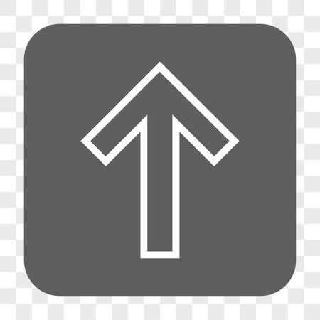 Flèche Up bouton de la barre d'interface. Vector icône de style est un symbole à plat dans un bouton carré arrondi, blanc et gris, échecs fond transparent.