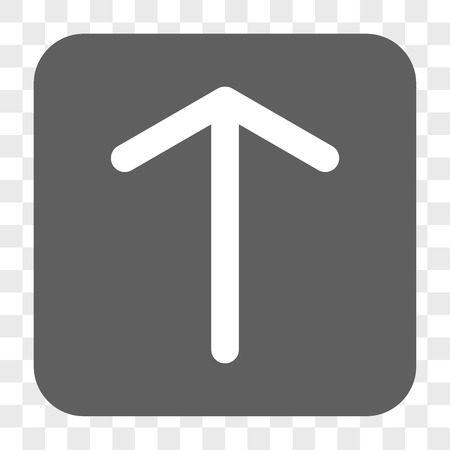penetrating: Arrow Up interface toolbar button. Vector icon style is a flat symbol inside a rounded square button, white and gray colors, chess transparent background.