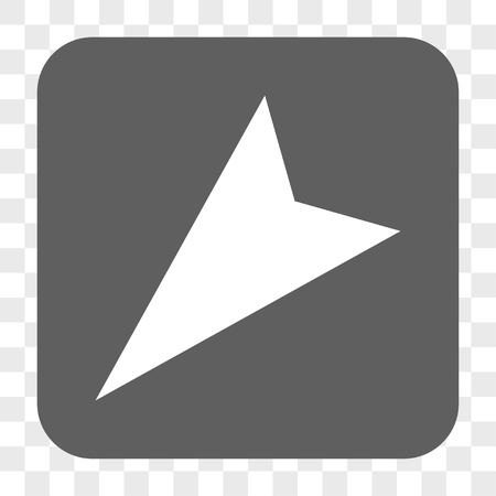 arrowhead: Arrowhead Left-Down interface toolbar button. Vector icon style is a flat symbol in a rounded square button, white and gray colors, chess transparent background.
