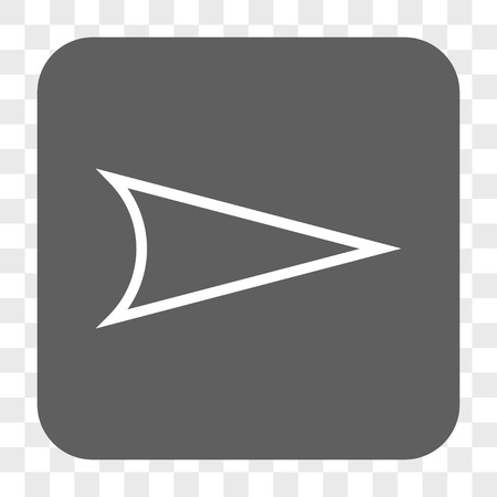 redirect: Arrowhead Right interface toolbar button. Vector icon style is a flat symbol on a rounded square button, white and gray colors, chess transparent background. Illustration