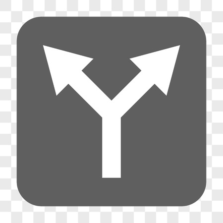 bifurcation: Bifurcation Arrow Up interface toolbar button. Vector icon style is a flat symbol inside a rounded square button, white and gray colors, chess transparent background. Illustration