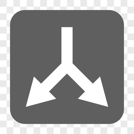 bifurcation: Bifurcation Arrow Down interface toolbar button. Vector icon style is a flat symbol inside a rounded square button, white and gray colors, chess transparent background.