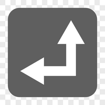 bifurcation: Bifurcation Arrow Left Up interface toolbar button. Vector icon style is a flat symbol in a rounded square button, white and gray colors, chess transparent background.