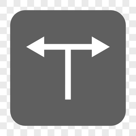 bifurcation: Bifurcation Arrows Left Right interface toolbar button. Vector icon style is a flat symbol inside a rounded square button, white and gray colors, chess transparent background. Illustration