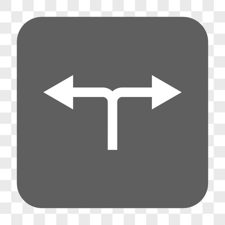left right: Bifurcation Arrows Left Right interface toolbar button. Vector icon style is a flat symbol on a rounded square button, white and gray colors, chess transparent background.