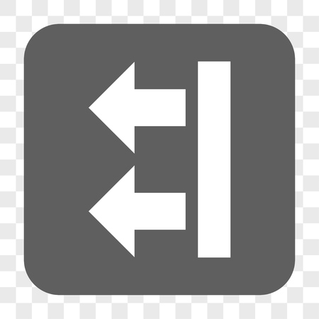 bring: Bring Left interface toolbar button. Vector icon style is a flat symbol in a rounded square button, white and gray colors, chess transparent background.