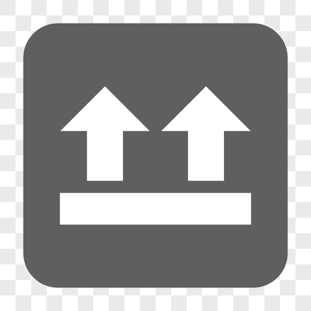 bring up: Bring Up interface toolbar button. Vector icon style is a flat symbol inside a rounded square button, white and gray colors, chess transparent background. Illustration