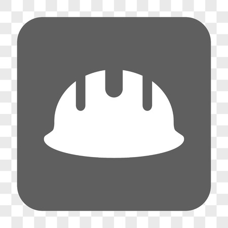 hardhat: Builder Hardhat interface toolbar button. Vector icon style is a flat symbol in a rounded square button, white and gray colors, chess transparent background.